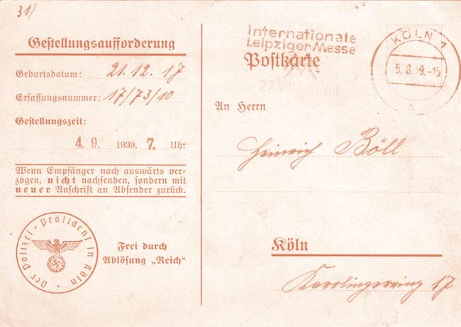 Heinrich Böll, Lettres de guerre. 1939-1945