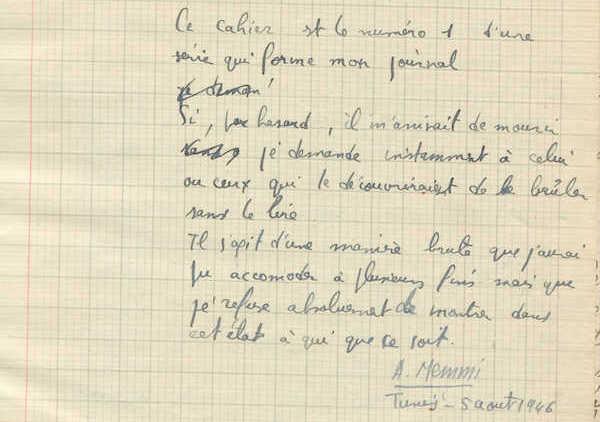Archives et manuscrits Le journal d'Albert Memmi, une genèse in-finie